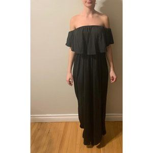 Dresses & Skirts - black, off shoulder maxi dress with ruffle.  NEW